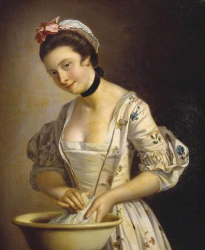 Morland, Henry Robert, c.1716-1797; A Lady's Maid Soaping Linen