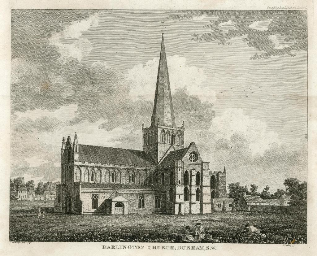 An engraving of St Cuthbert's Church, Darlington, with the market place behind it.